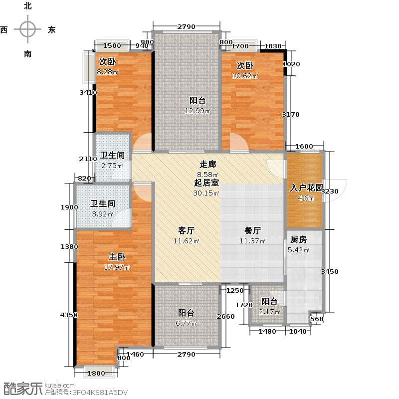 碧桂园豪庭J74北二楼六街5号三、四、六、八、十、十二、十四、十六、十八层03单元户型3室2卫1厨