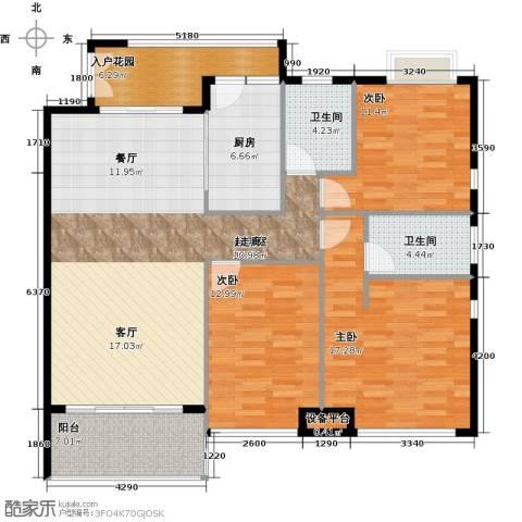 富盈东方华府三期紫峰3室0厅2卫1厨138.00㎡户型图