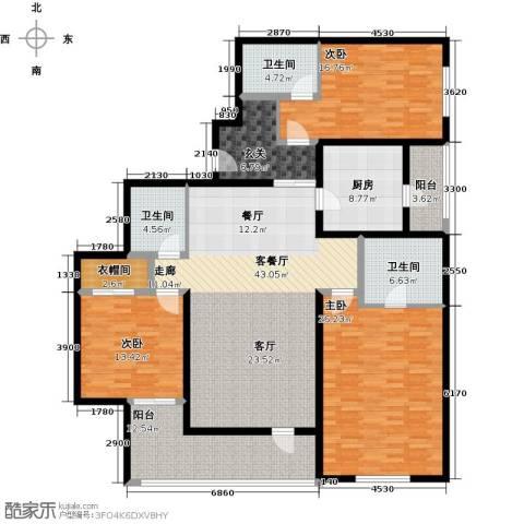 朗诗虹桥绿郡3室1厅3卫1厨167.00㎡户型图