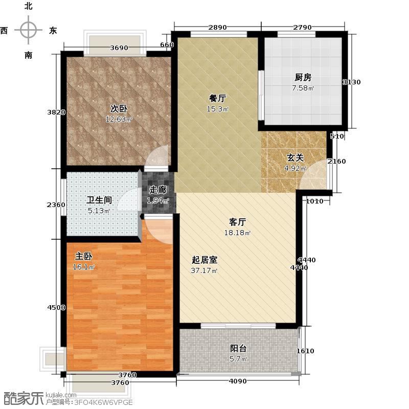 康悦亚洲花园房型户型2室1卫1厨