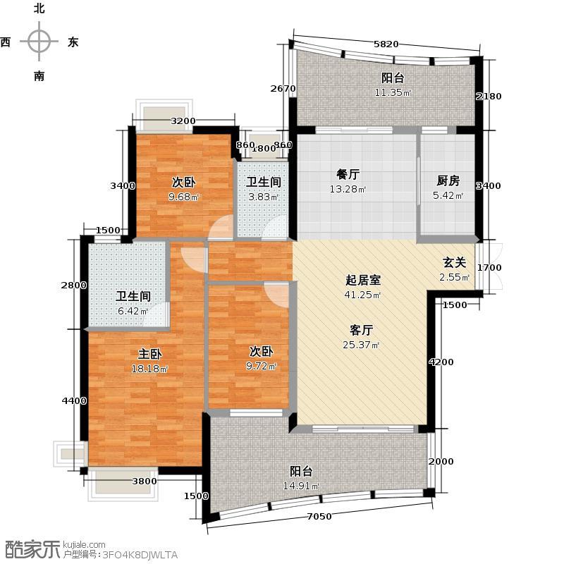 雅居乐国际花园二期雅居乐国际花园户型3室2卫1厨
