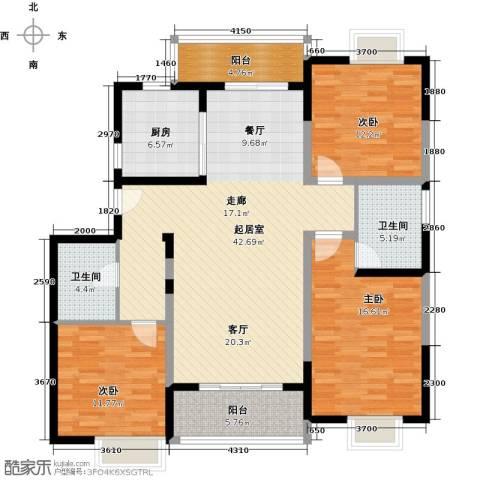 新虹桥首府3室0厅2卫1厨126.00㎡户型图