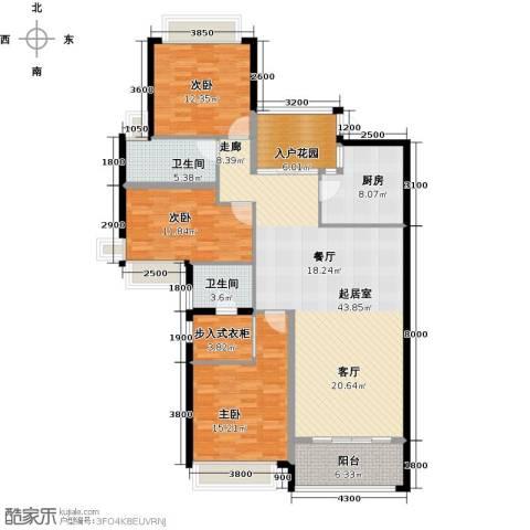 雅居乐国际花园二期3室0厅2卫1厨123.00㎡户型图