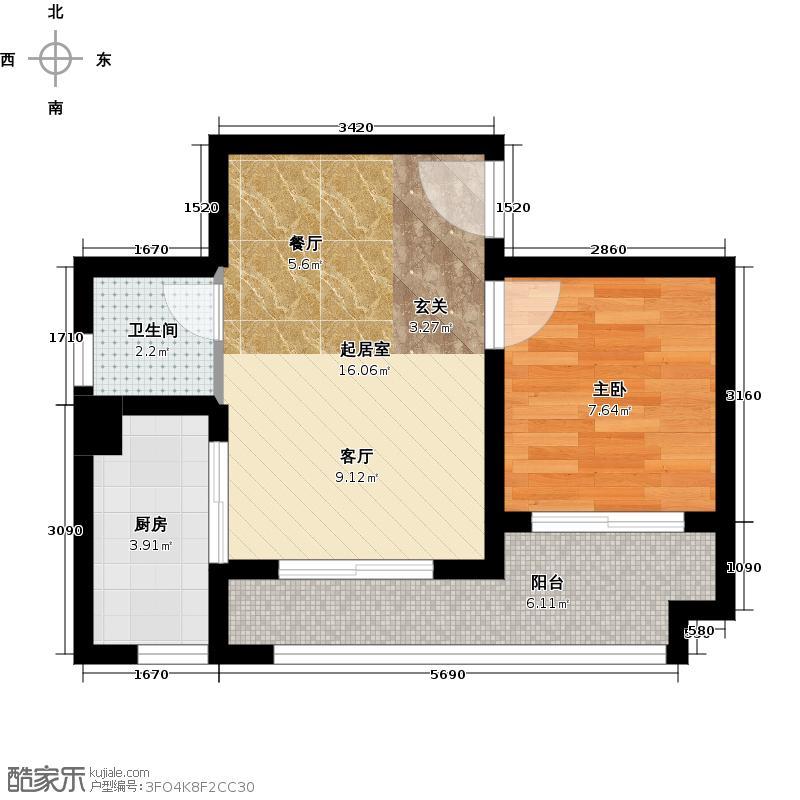 鲁能星城6街区5/6/7号楼5/8号房+大阳台户型1室1卫1厨