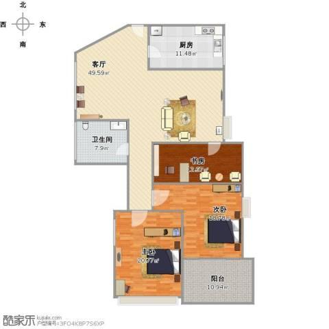 多蓝水岸银沙苑3室1厅1卫1厨175.00㎡户型图