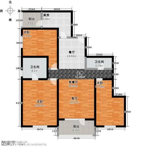 朗诗虹桥绿郡3室1厅2卫1厨160.00㎡户型图