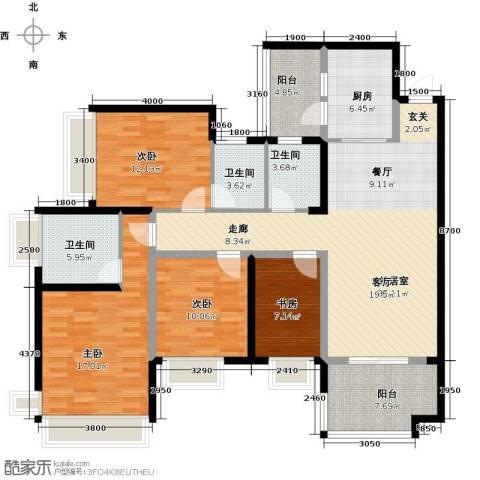 雅居乐国际花园二期4室0厅3卫1厨123.00㎡户型图