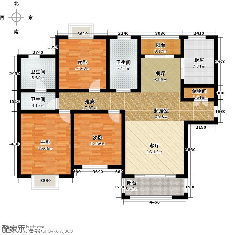 西上海名邸A1户型3室3卫1厨
