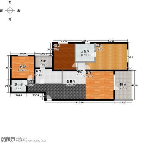 朗诗虹桥绿郡3室1厅2卫1厨200.00㎡户型图