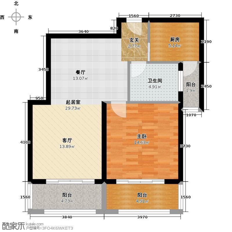 西上海名邸户型1室1卫1厨