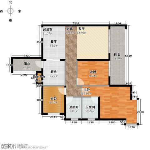 富盈东方华府三期紫峰3室0厅2卫1厨129.00㎡户型图