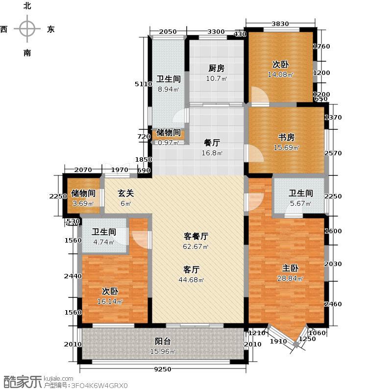 尚海湾豪庭C2户型4室1厅3卫1厨