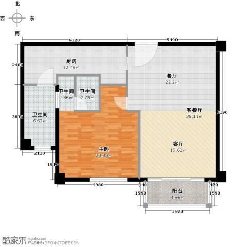 宛平881室1厅2卫1厨99.00㎡户型图