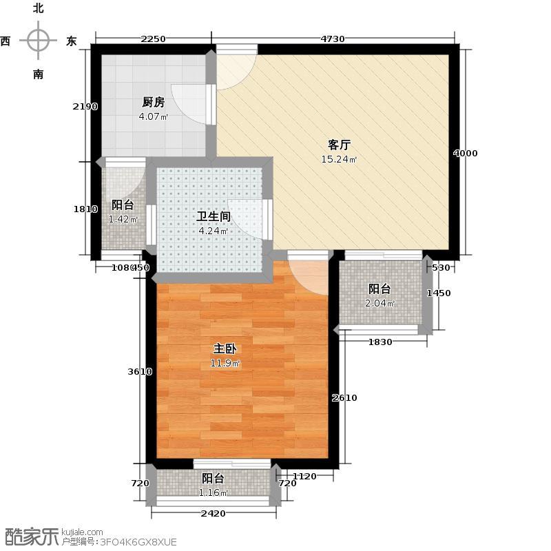 嘉城252627-3-74户型1室1厅1卫1厨