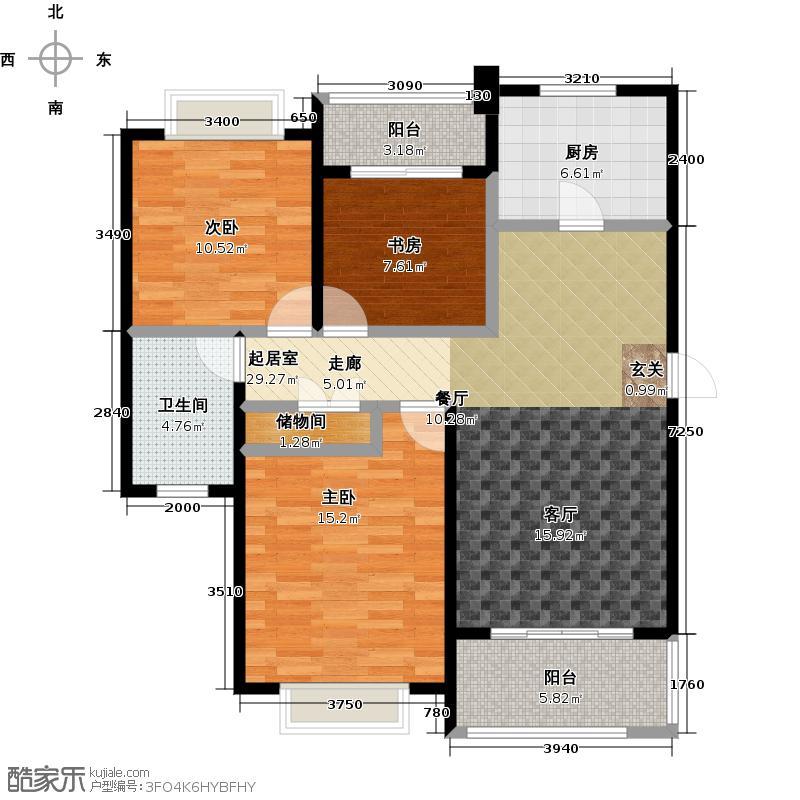 绿地百年宅新里崴廉公馆D3户型3室1卫1厨