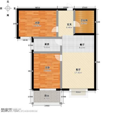 翡翠城第二季第二期2室0厅1卫1厨87.00㎡户型图