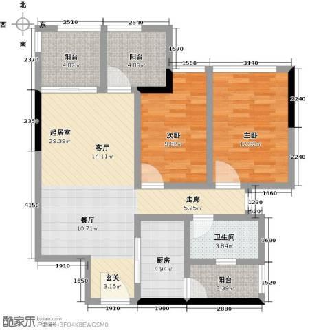 同景优活城2室0厅1卫1厨108.00㎡户型图