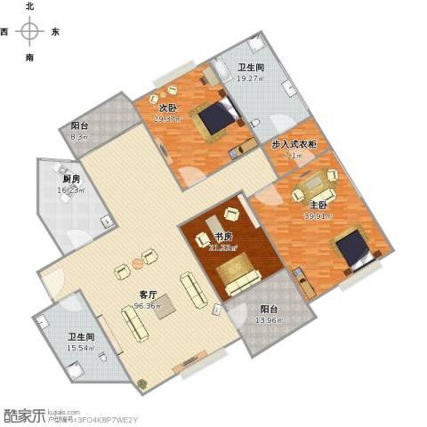 多蓝水岸银沙苑3室1厅2卫1厨350.00㎡户型图