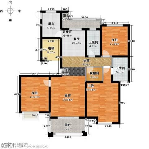 铭邦华府3室1厅2卫1厨135.00㎡户型图