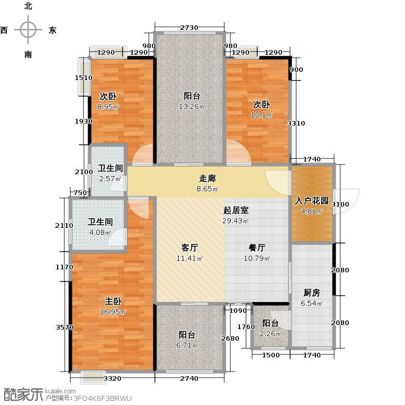 碧桂园豪庭J74北二楼六街7号三、四、六、八、十、十二、十四、十六、十八层03单元户型3室2卫1厨