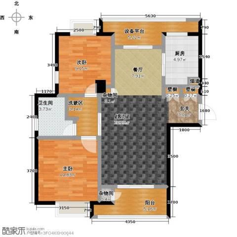 绿地百年宅2室0厅1卫1厨90.00㎡户型图