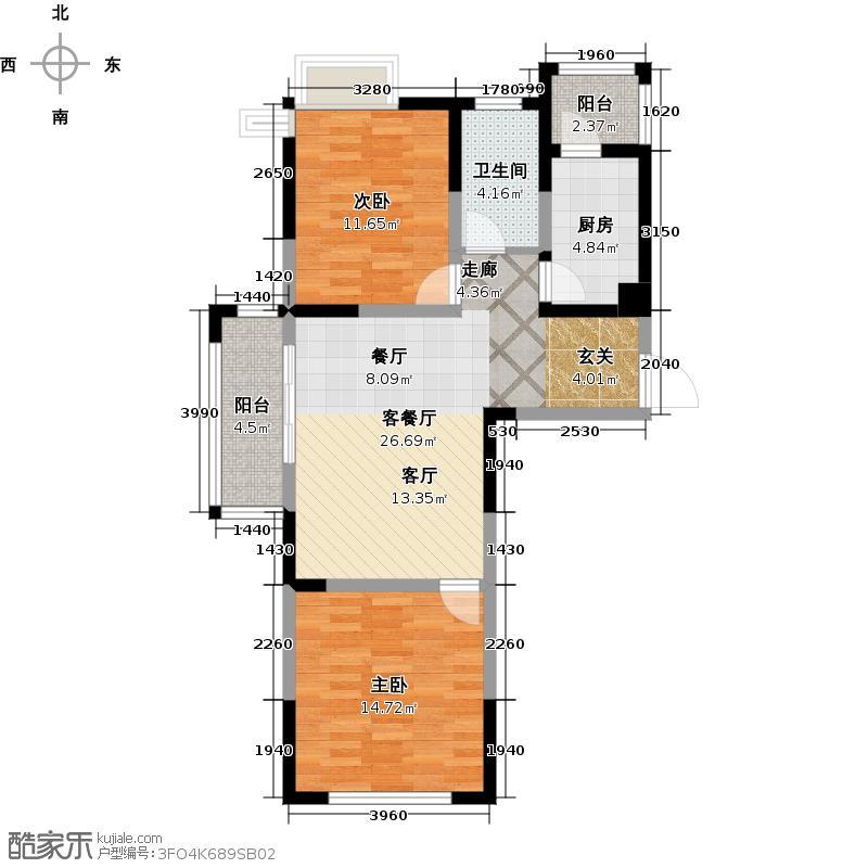 富兴雅苑户型2室1厅1卫1厨