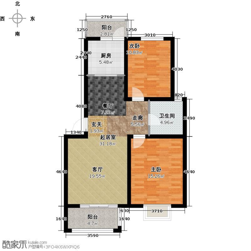 恒盛湖畔豪庭20#21#26#37A平面布置图户型2室1卫1厨