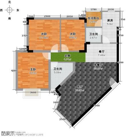 祥和御馨园二期3室1厅2卫1厨123.00㎡户型图