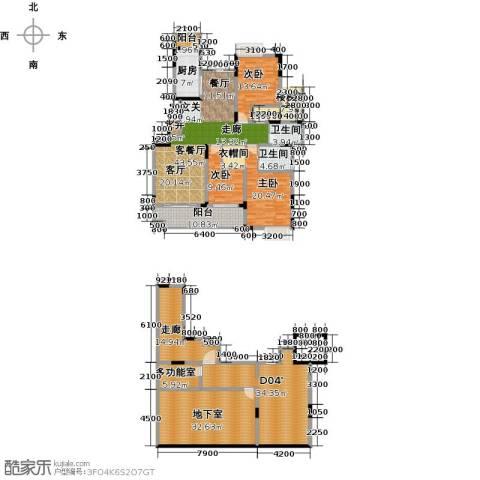 绿地海棠湾3室1厅2卫1厨203.86㎡户型图
