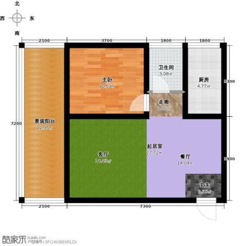 中和龙沐湾・海润源1室0厅1卫1厨67.00㎡户型图