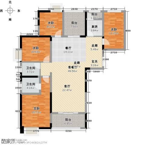 常州红星国际广场4室1厅2卫1厨141.00㎡户型图