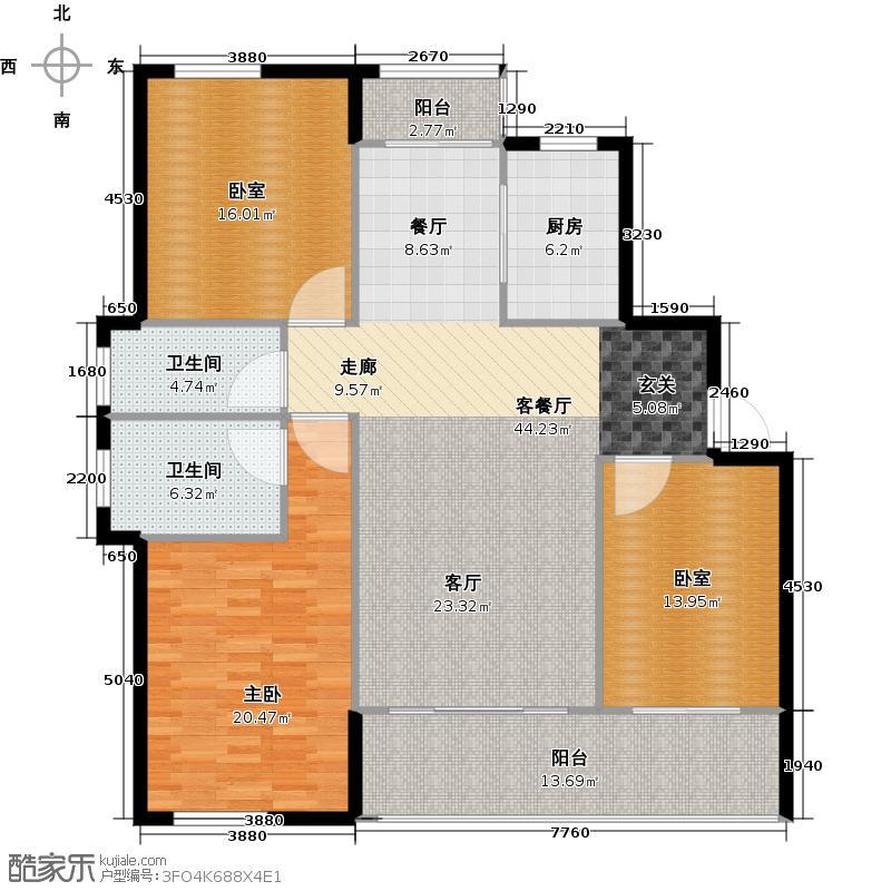 嘉宝梦之湾E1户型1室1厅2卫1厨