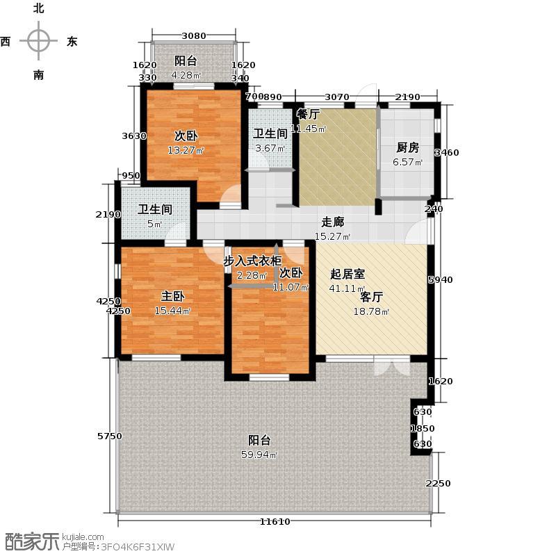 中信泰富朱家角新城4层C1一层户型3室2卫1厨