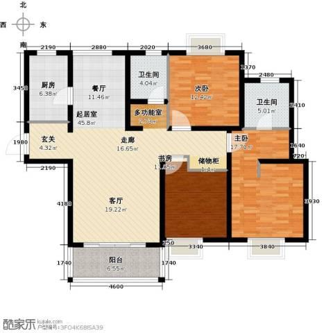 虹桥宝龙城3室0厅2卫1厨124.00㎡户型图