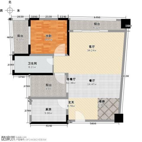 钱隆樽品三期波士堂1室1厅1卫1厨135.00㎡户型图