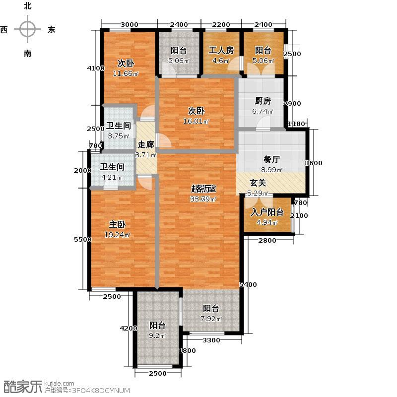 润丰水尚花园洋房C34阳台户型3室2卫1厨