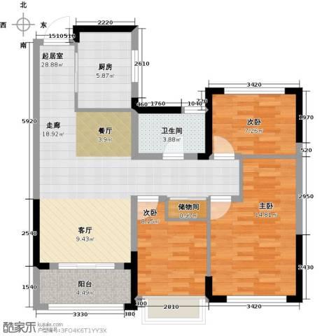 卓锦兰香3室0厅1卫1厨88.00㎡户型图