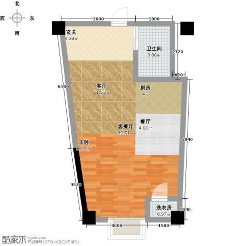 钱隆樽品三期波士堂1厅1卫0厨50.00㎡户型图