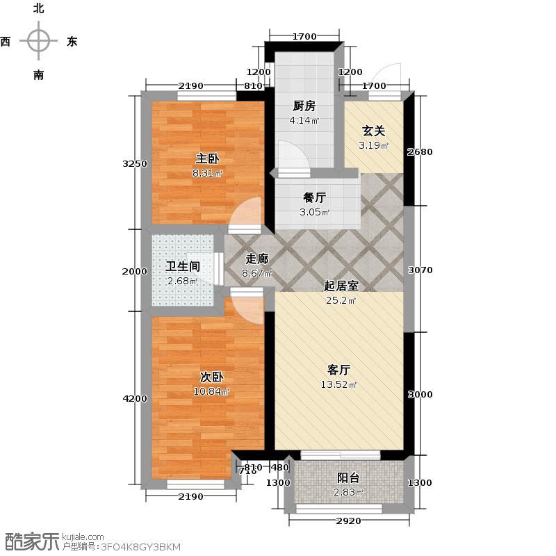 廊坊孔雀城公园海1号楼D户型2室1卫1厨