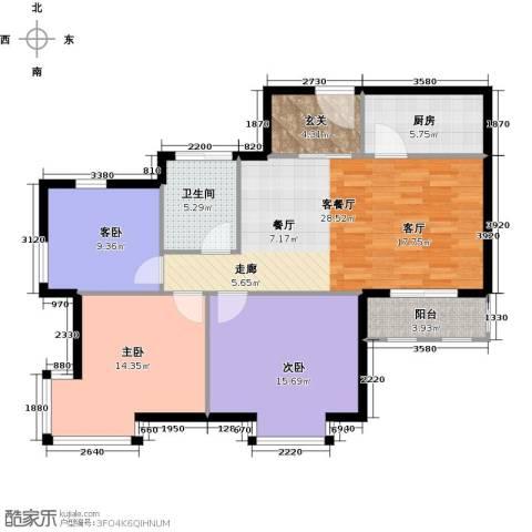 中通锦龙花园3室1厅1卫1厨97.00㎡户型图