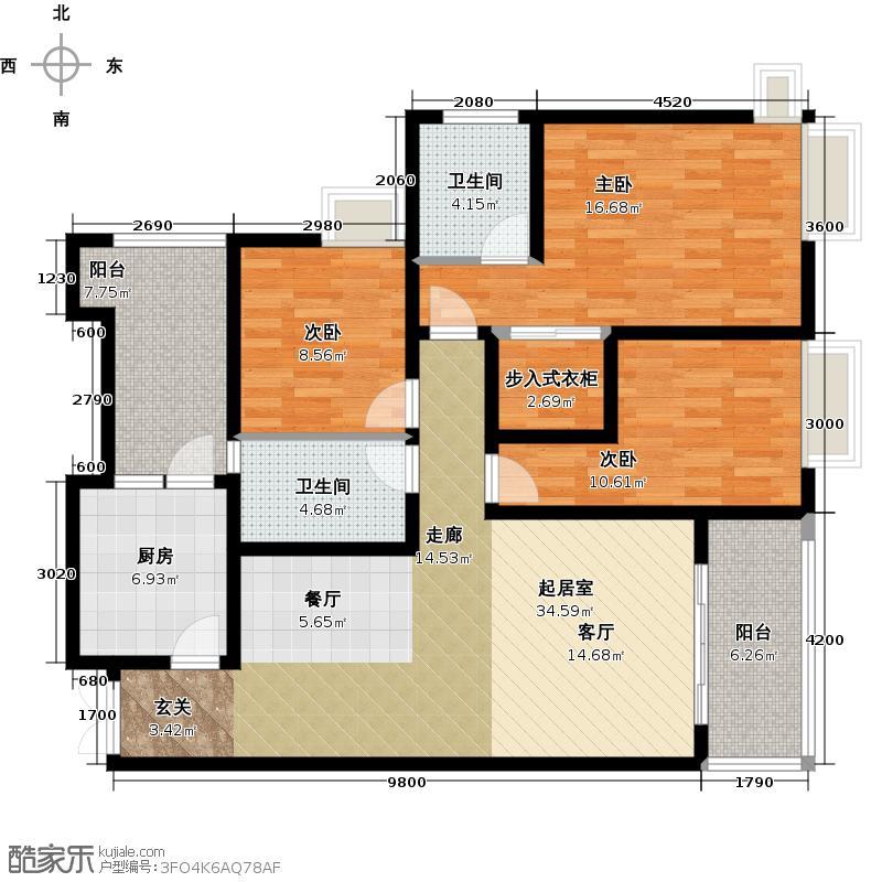 江润地中海岸高层A户型3室2卫1厨