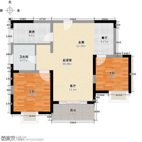 新虹桥首府2室0厅1卫1厨85.00㎡户型图