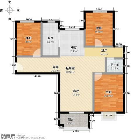 国瑞生态城雅仕苑3室0厅1卫1厨110.00㎡户型图