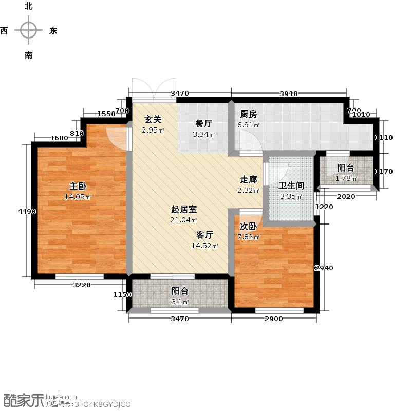盛泽・伯爵山88.01㎡户型2室1卫1厨