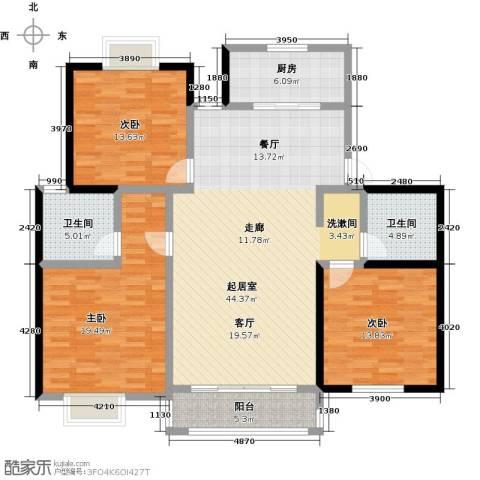 上海一家人楼盘3室0厅2卫1厨128.00㎡户型图