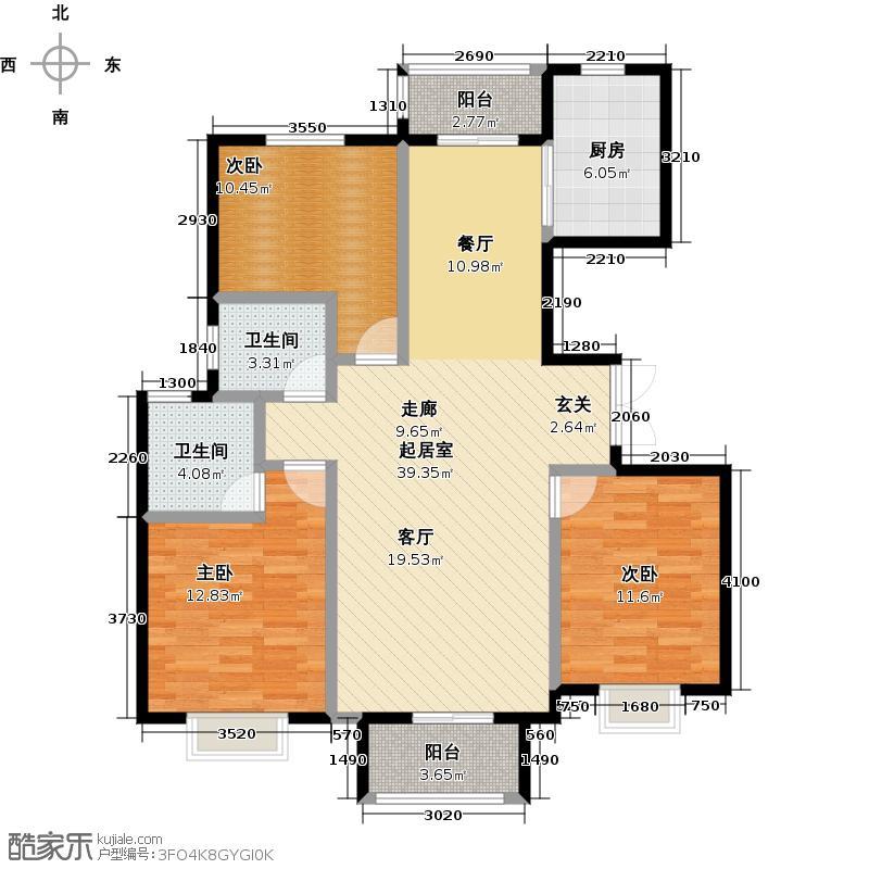 盛泽・伯爵山126.32㎡N1户型3室2卫1厨
