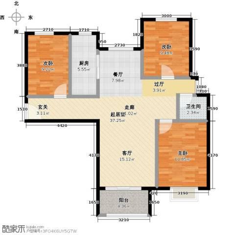 国瑞生态城雅仕苑3室0厅1卫1厨112.00㎡户型图