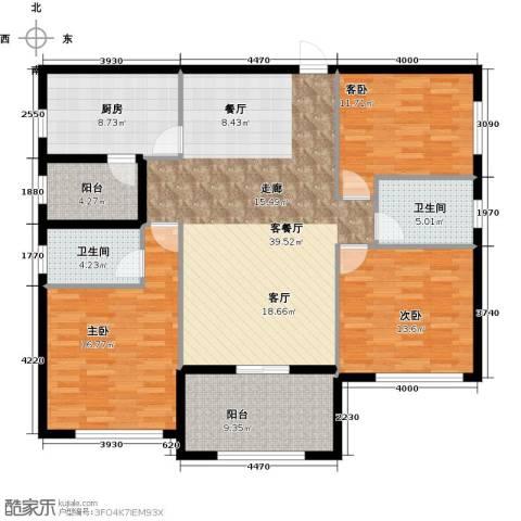 欣荣宏国际商贸城3室1厅2卫1厨124.00㎡户型图