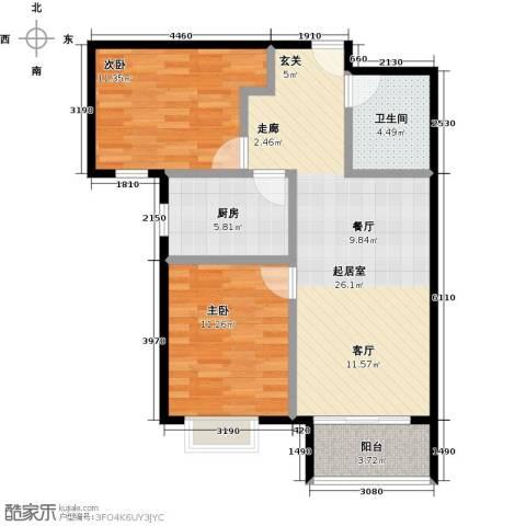 国瑞生态城雅仕苑2室0厅1卫1厨84.00㎡户型图