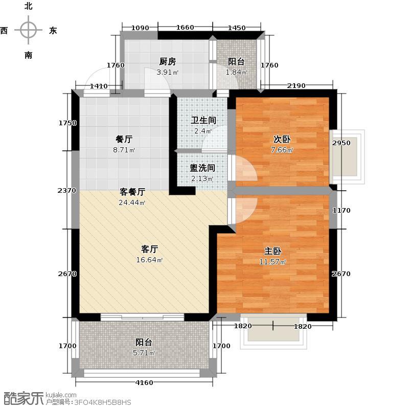 新金鸿蝴蝶谷8栋G户型2室1厅1卫1厨